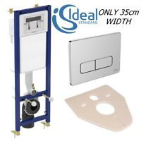 IDEAL STANDARD WC FRAME CISTERN CONCEALED TOILET WALL HUNG & CHROME PLATE 3in1