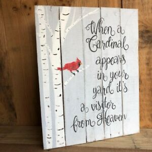 Handpainted Reclaimed Wood Sign When A Cardinal Appears