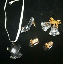 5 piece Swarovski Crystal Lot Angel Ornament Baby Booties Pump Shoe Bells