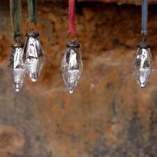 Antique Silver Mercury Glass Diamond Small Baubles, Set of 4 Zaria Nkuku Xmas