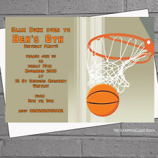 Personalised Basketball Childrens Birthday Party Invitations x 12 +envs H0734