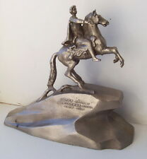 Russian Tsar Peter 1st riding a horse monument vintage rare statuette
