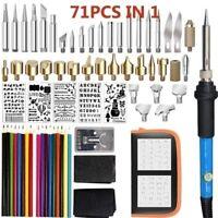 71Pcs 60W Wood Burning Pen Kit Set Stencil Soldering Tips Tools Pyrography Craft