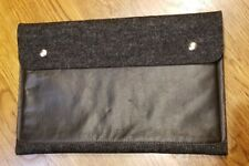 Rib & Hull Grey Wool & Leather envelope style ipad / Macbook air holder clutch
