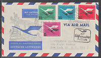 A 28 ) beautiful FFC Lufthansa 1955 inaugural flight Dusseldorf to New York