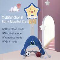 Kids 4-in-1 Sports Center: Basketball Hoop, Soccer,Goal, Ring Toss Playset
