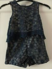 Girls Navy Floral Netted Lined  Playsuit Age 5 Years Matalan NWT