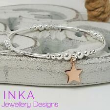 Inka Sterling Silver bead and noodle Stacking Bracelet with Rose Gold Star charm