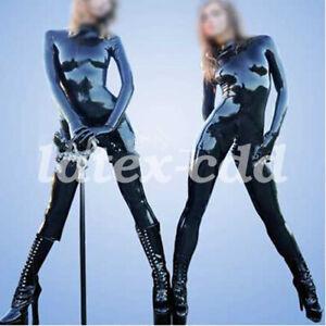 Gummi Ganzanzug Catsuit Kostüm Latex Rubber GlovesBlack Schwarz Uniform Bodysuit