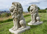 PROUD LION LARGE  Stone Garden Gate Decor Handmade Cast Animal Statue Orn