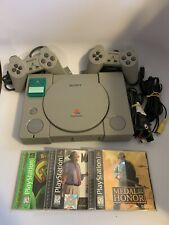 Sony PlayStation 1 PS1 Console Bundle 2 Controllers Lot w/ 3 Games & Memory Card