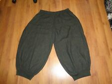 LA BASS ARMY GREEN HEAVY LINEN BAGGY ANKLE CUFF HEMS HAREM CULLOTES PANTS-PLUS