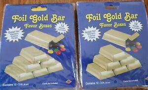 24 Foil Gold Bar Favor Boxes ~ Gold Anniversary ~ Wedding ~ Party Decoration ~