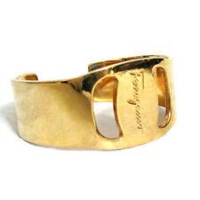 Authentic Used SALVATORE FERRAGAMO Goldtone Vara Bangle Bracelet Made Italy