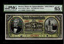 MEXICO 1902-1910 5 Pesos Banco de Aguascalientes SPECIMEN  BANKNOTE #MA-BN-1