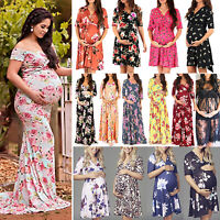Womens Pregnant Floral V Neck Maternity Dress Gown Party Pregnancy Photography