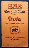 Der gute Plan von Dresden mit Straßen-Verzeichnis um 1930 Sachsen Saxonica sf