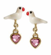 Betsey Johnson TURQS AND CAICOS Dove Bird Gold-Tone Pink Heart Drop Earrings