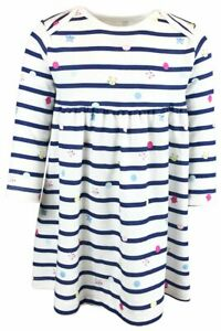 New Mothercare Girls Navy Striped Dress - NB to 24 Mnths - Free 1st Class Post