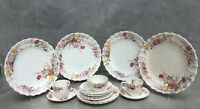 "Vintage SPODE COPELAND ""Fairy Dell"" Plates/Cups  Floral Sprays Swirl Rim 16 piec"