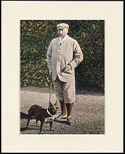 KING EDWARD V11 AND FRENCH BULLDOG GREAT VINTAGE STYLE DOG PRINT READY MOUNTED