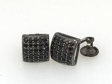 GENUINE STERLING SILVER 925 MICRO-PAVE SETTING STYLE MEN WOMEN EARRING