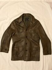 Vintage SKM Brown Leather Coat Jacket. Button Up.  Large. *Made In Seattle*