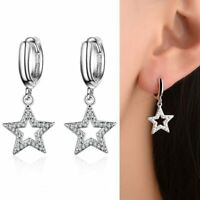 Creolen mit Anhänger Stern echt Sterling Silber 925 Zirkonia Damen Ohrringe