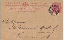 H&B CP46 utilizado para Vancouver 1902 KE7 1d L10 PS Postal encantadora carmín