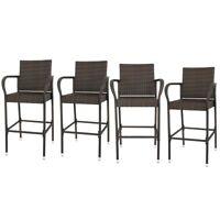 4PCS Rattan Wicker Barstool Furniture Bar Stool Indoor Outdoor Patio Brown