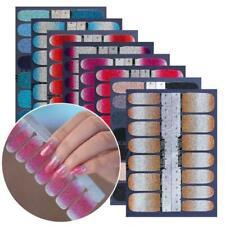 14PCS Glitter Nail Stickers Gradient Color Polish Strip Regular DIY Decor O4V5