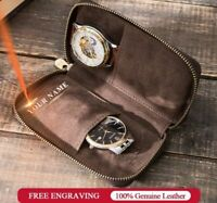 Double Watch Case Bag Genuine Leather Travel Watchers Cases Wrist Storage Pouch