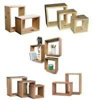 Wooden Wall Floating Cube Box Shelf Shelves Walls Storage Shelving Unit Display