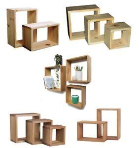 Wooden Wall Floating Cube Box Shelf Shelves Walls Storage Shelving Unit Display