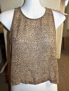 $30 MINA FASHION cheetah LEOPARD spot CHIFFON CROP TOP 8 blouse club party NWT