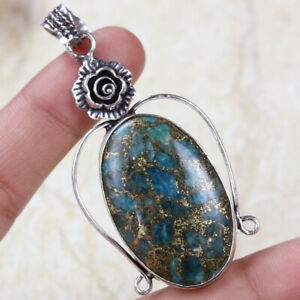 """Copper Apatite 925 Silver Plated Handmade Gemstone Pendant of 2.3"""" Ethnic Gift"""