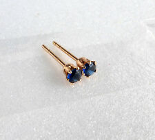 Tiny Stud Earrings 18K Yellow Gold Plated 3mm Dark Blue Black CZ Cubic Men Kids