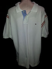 Tommy Hilfigher Polo Rugby Shirt White Mens Sz XXL 2XL-Tall Slim Fit Cotton
