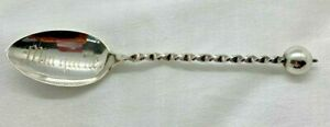 MARQUETTE Wisconsin Twisted Handle Ball Sterling Silver Souvenir Spoon Wendell