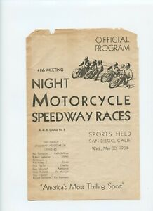 VERY RARE - 1934 Motorcycle Race Program 48th - San Diego Sports Field - VINTAGE