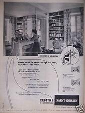PUBLICITÉ 1957 SAINT GOBAIN GLACE MIROIR BONJOUR LUMIÈRE  - ADVERTISING