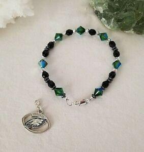 Philadelphia Eagles NFL Charm Beaded Bracelet Made With Swarovski, Czech Beads