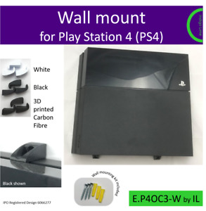 PlayStation 4 Original (PS4) wall bracket mount holder. Made in the UK by us