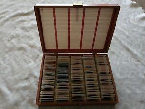 Vintage Retro Wooden 35mm Film 174 Slide Storage Box Case With contents