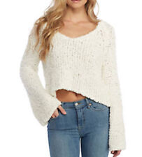 Free People OB767524 Sand Dune Knit Pullover Long SLeeve Sweater Ivory L