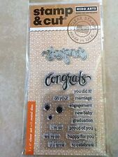 Hero Arts Stamp and Cut Congrats Stamp with Matching Die Cut Set DC149 NEW
