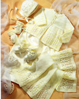 Knitting pattern-baby Lacey Layette  in 4 ply, fits Prem-6 months