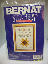 """BERNAT STAMPED CROSS STITCH KIT WITH FABRIC APPLIQUE """"WELCOME"""" 5X7 SEALED USA"""