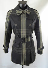 AQUASCUTUM Club Check BOVEY short trench coat Black sz 10 £600 BNWT