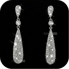 18k white gold gp made with SWAROVSKI crystal stud earrings dangle long